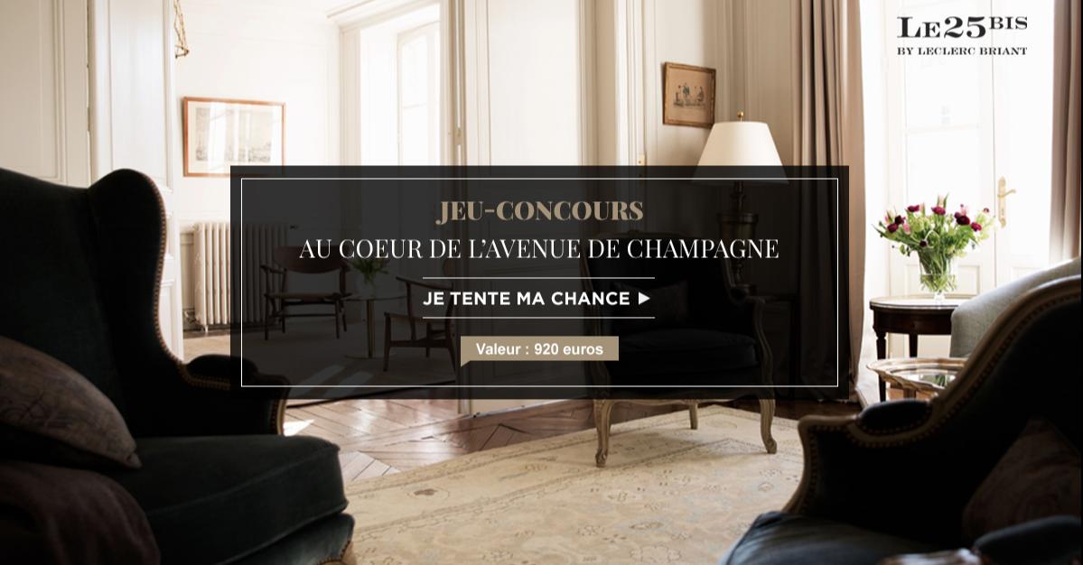 Tentez de remporter un week-end au coeur de l'avenue de Champagne !